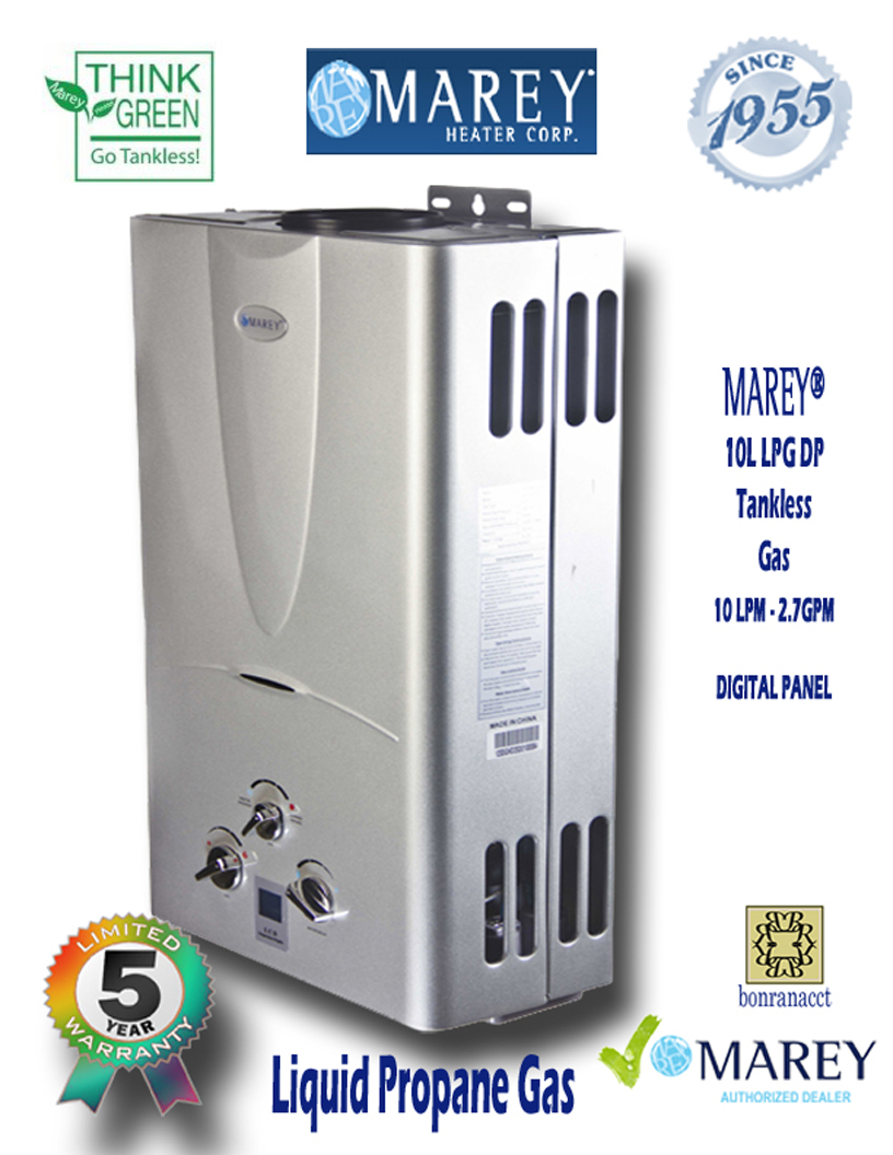 Marey GA10L LPG DP 2.7 GPM Propane Small House Water Heater - Click Image to Close