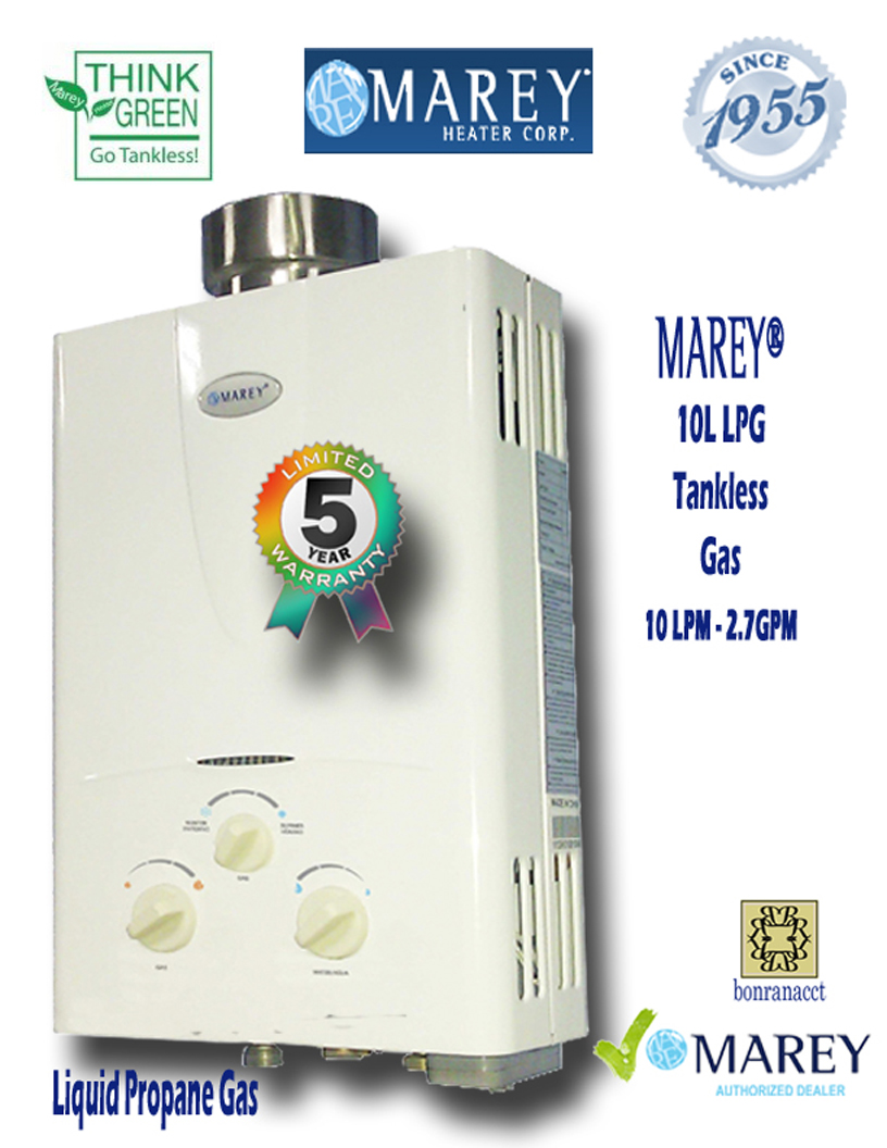 Marey GA10L LPG 2.7 GPM Propane Small House Water Heater