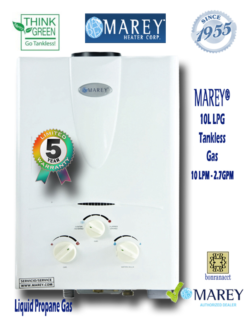 Marey Refurbished REFGA10LP 2.7 GPM Propane Water Heater - Click Image to Close