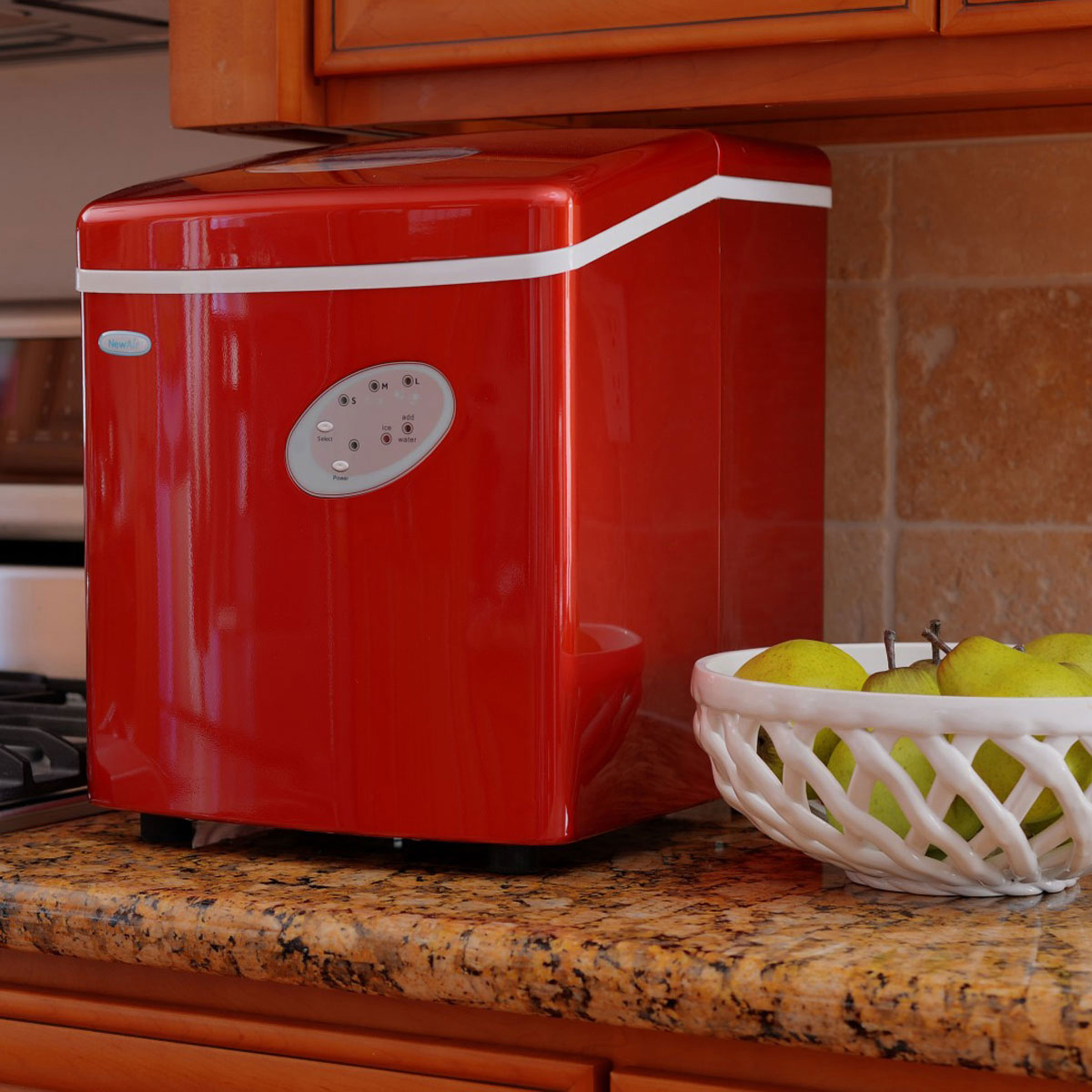 NEWAIR AI-100R Portable Red Ice Maker 28 lbs per day