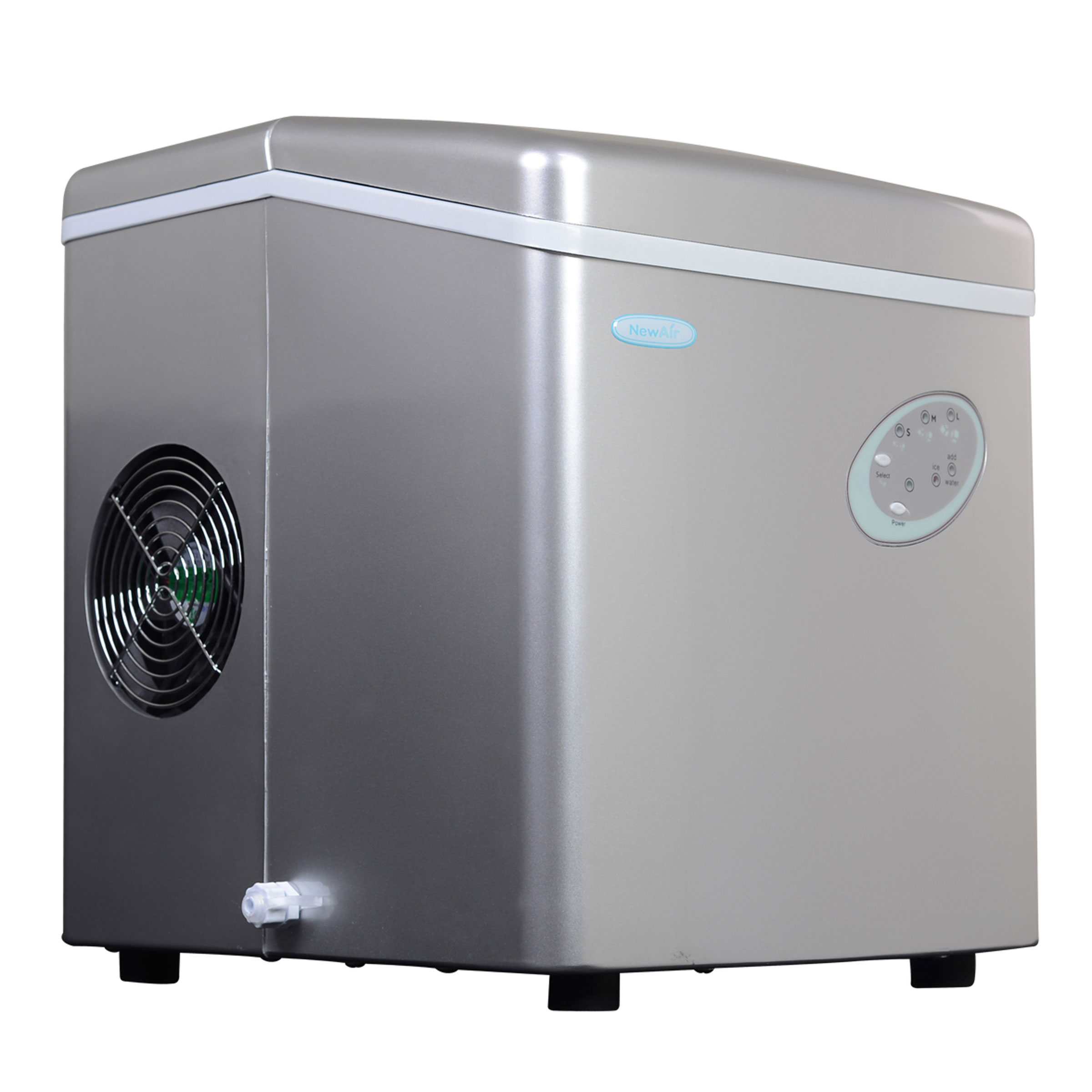 NEWAIR AI-100S Portable Silver Ice Maker 28 lbs per day