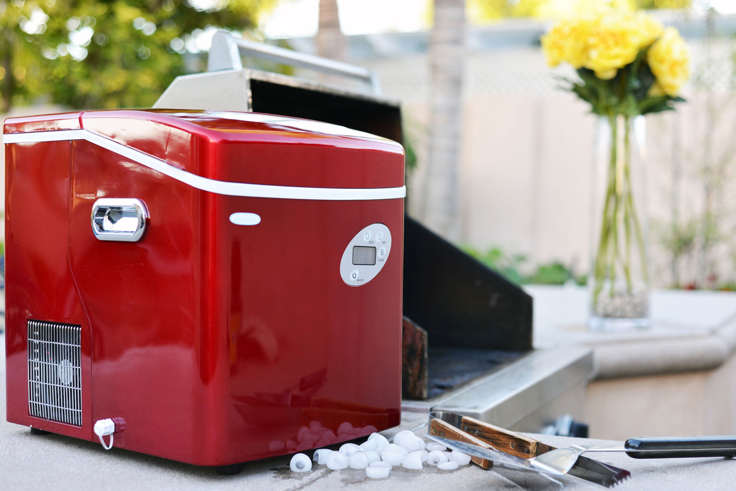 NEWAIR AI-215R Red Ice Maker, 50 lbs per day