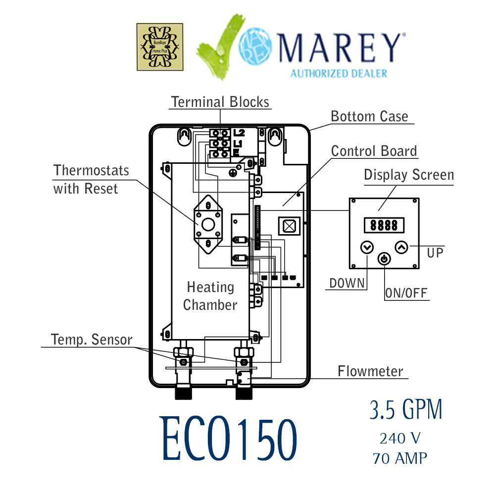 Marey Eco150 Tankless Water Heater 35 Gpm 146kw 10 Kw Electric Furnace Wiring Diagram