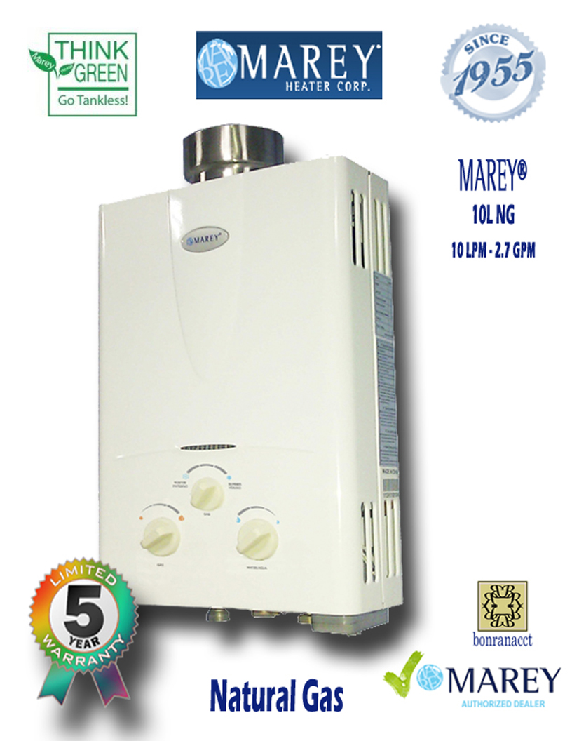 Marey GA10L NG 2.7 GPM Natural Gas Water Heater