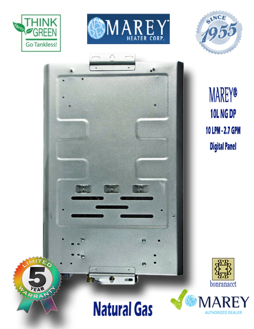 Marey GA10L NG DP 2.7 GPM Digital Pane Water Heater