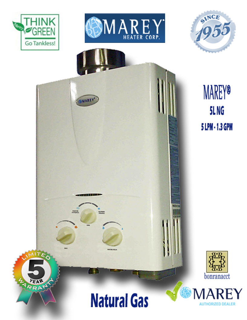 Marey GA5L NG 1.3 GPM Natural Gas Water Heater Tiny House