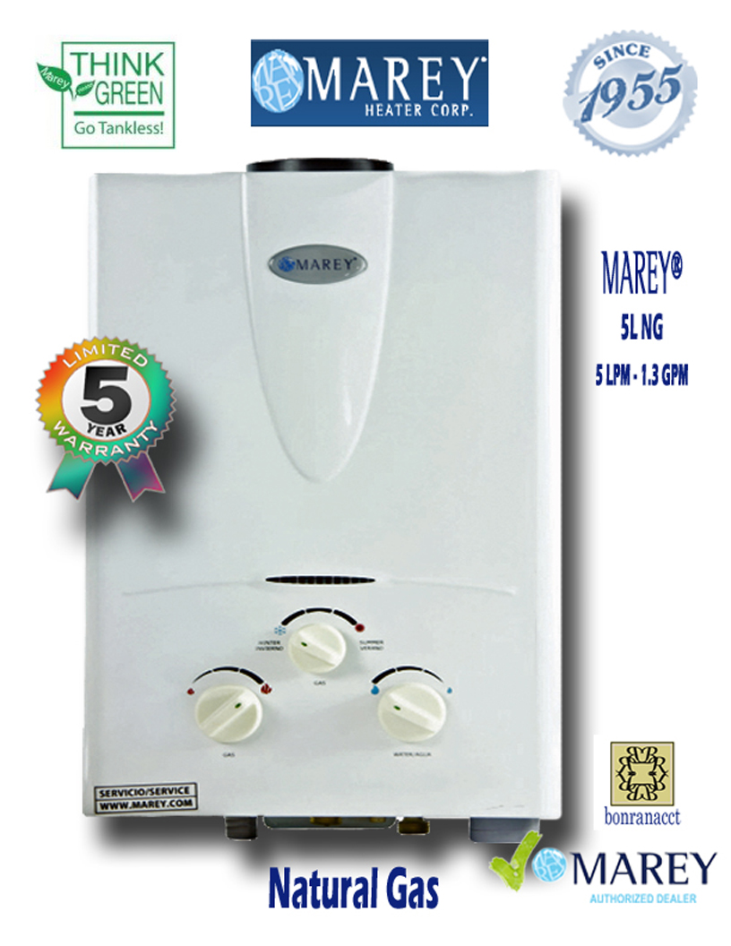 Marey GA5L NG 1.3 GPM Natural Gas Water Heater Tiny House - Click Image to Close