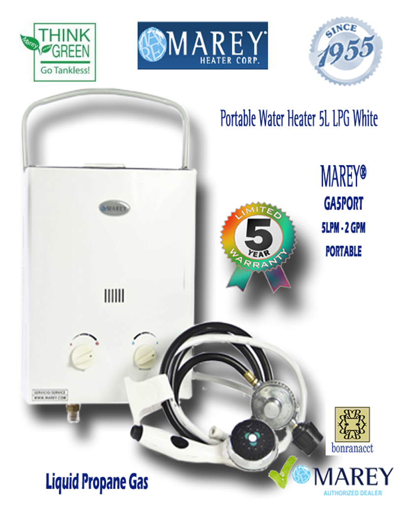 Marey GA5PORT LPG 2 GPM Portable Propane Water Heater