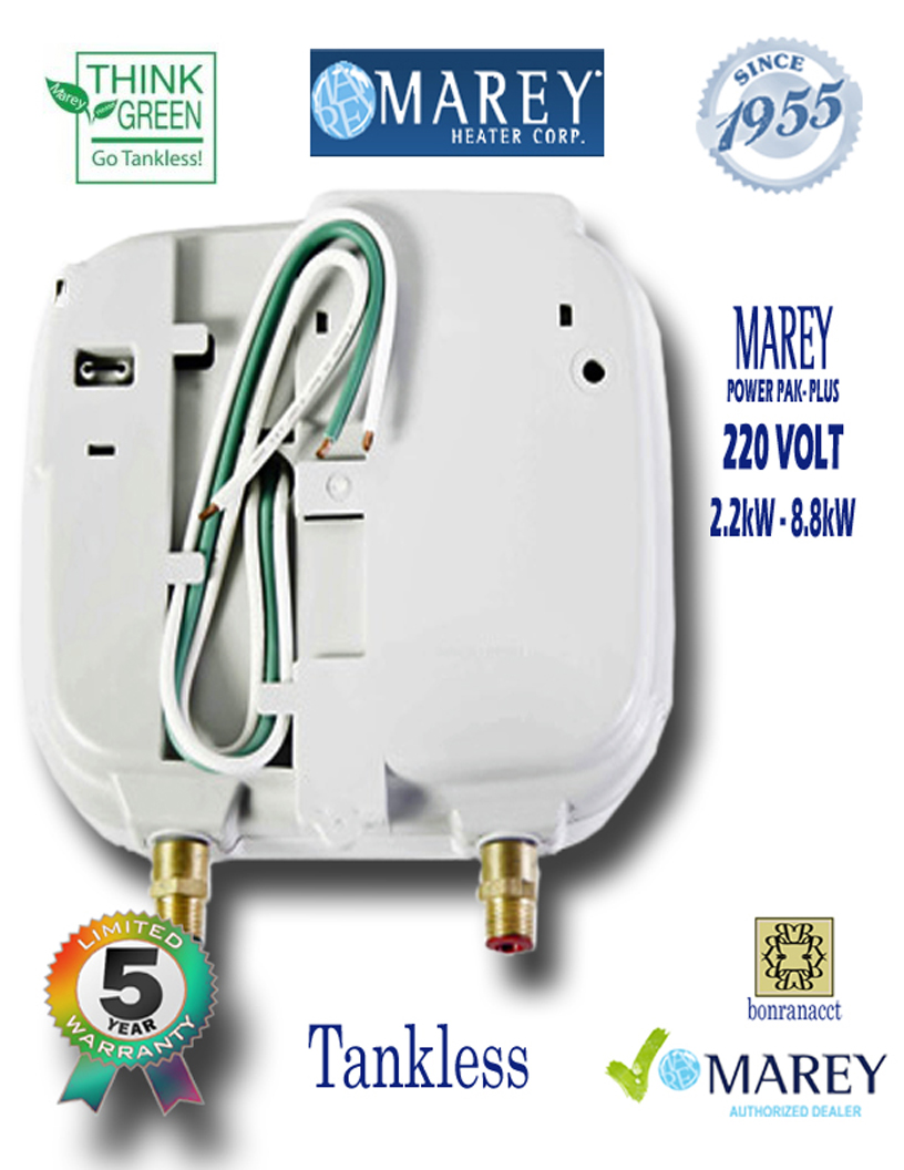 Marey Power Pac Plus 220 Electric Water Heater 220 Volt 3 GPM