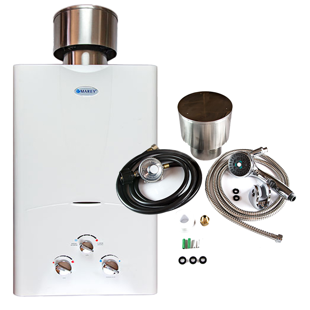 Marey GA10LPOB Water Heater Propane Tankless Bundle 2.7 GPM